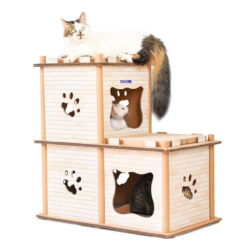 Afbeelding van DIY dubbele stapsgewijze kattendraagstoel gegolfd papier Cat Scratch Board slijpen klauw speelgoed