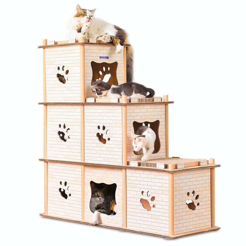 Afbeelding van CP-205 DIY dubbele stapsgewijze kattendraagstoel gegolfd papier Cat Scratch Board slijpen klauw speelgoed