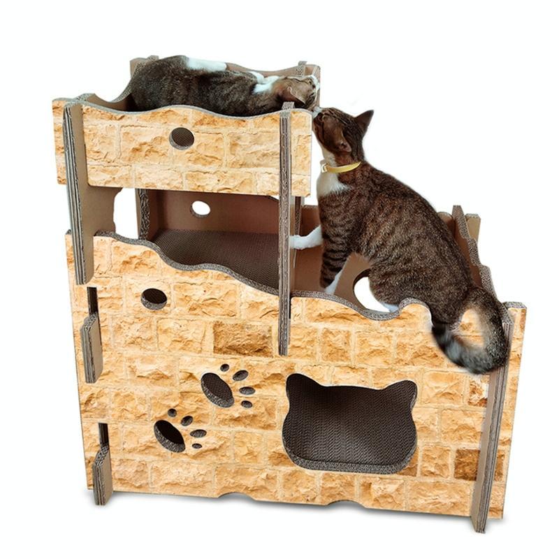 Afbeelding van De draagstoel van de kat van de stijl van de CP-199 kasteel gegolfd papier Cat Scratch Board slijpen klauw speelgoed