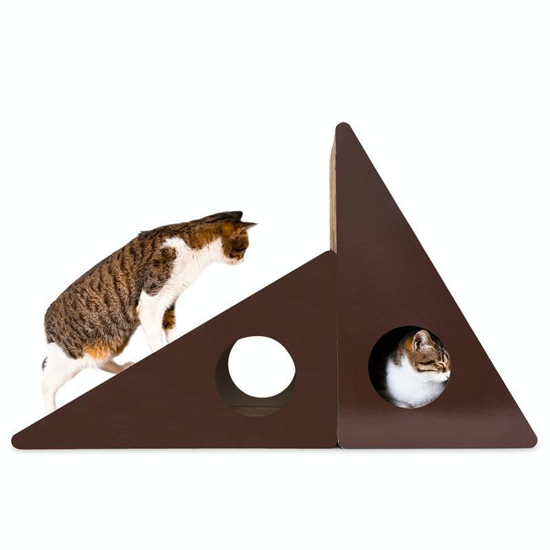 Afbeelding van Driehoekige muur bell gegolfd papier Cat Scratch Board kat Draagstoel slijpen klauw speelgoed