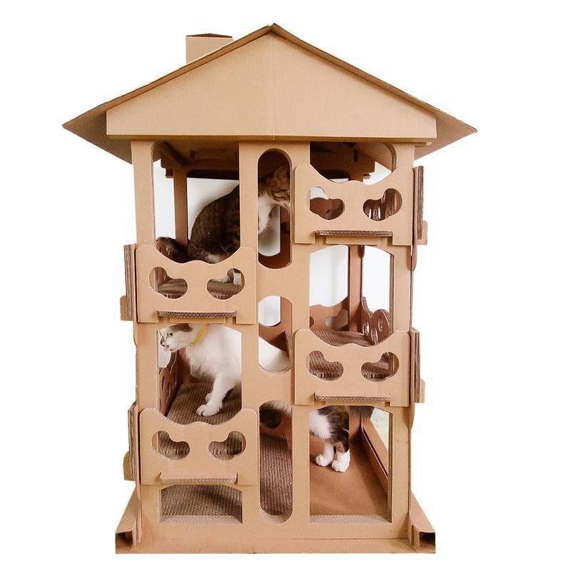 Afbeelding van CP-087 DIY vier verdiepingen kat Villa gegolfd papier kat kras Board kat Draagstoel klauw speelgoed