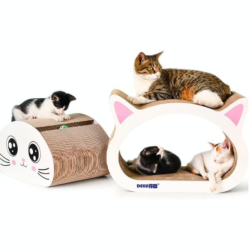 Afbeelding van 2 in 1 grote Ox-eyed Cathead gegolfd papier Cat Scratch Board Cat slijpen klauw speelgoed met Bell