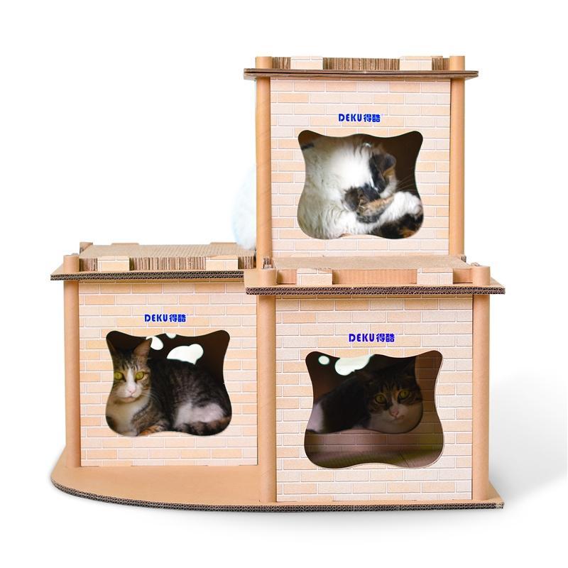 Afbeelding van CP-178 gedrukte kat Villa gegolfd papier kras Board kattendraagstoel van de kat slijpen klauw speelgoed