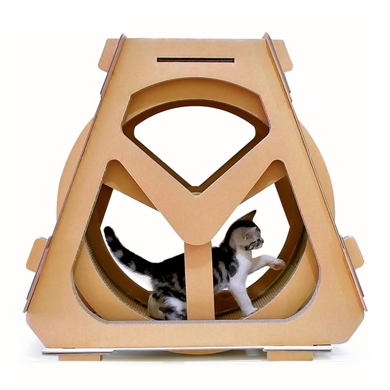 Afbeelding van Waterrad Ferris vormige kat klimmer gegolfd papier Cat Scratch Board slijpen klauw speelgoed grootte: 73x36x70cm