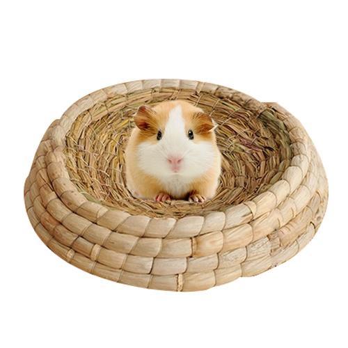 Afbeelding van Huisdier natuurlijke Hand gemaakte maïs Husk Hat Type konijn Nest stro vogeltje Nest