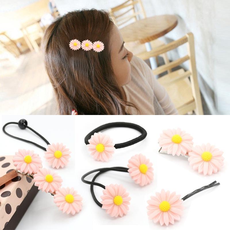 Afbeelding van 6 pc's New zomer Boutique kleine verse Daisy Flower schattig meisje duurzaam haarspeld Hair Clips haar Ring elastische haar Rope(Pink)