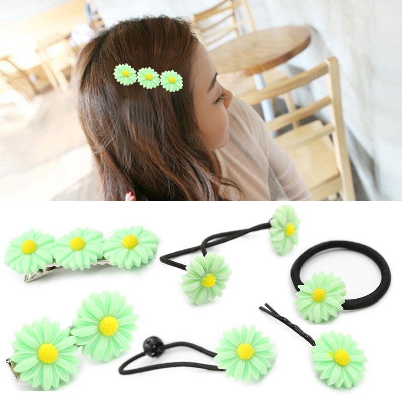Afbeelding van 6 pc's New zomer Boutique kleine verse Daisy Flower schattig meisje duurzaam haarspeld Hair Clips haar Ring elastische haar Rope(Green)
