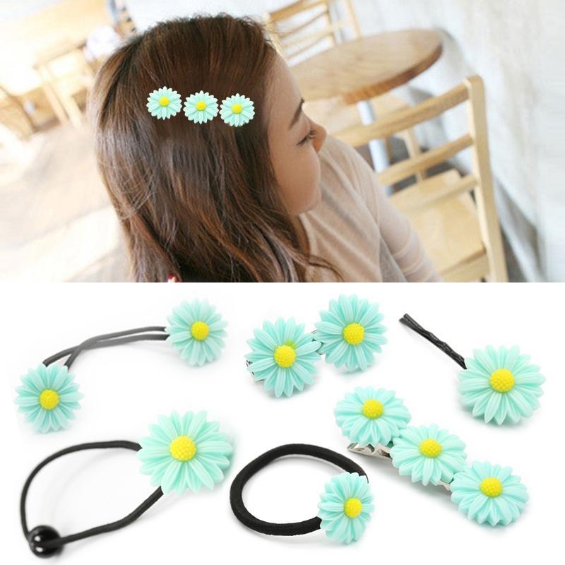 Afbeelding van 6 pc's New zomer Boutique kleine verse Daisy Flower schattig meisje duurzaam haarspeld Hair Clips haar Ring elastische haar Rope(Blue)