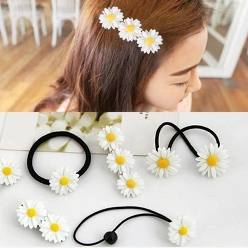 Afbeelding van 6 pc's New zomer Boutique kleine verse Daisy Flower schattig meisje duurzaam haarspeld Hair Clips haar Ring elastische haar Rope(White)