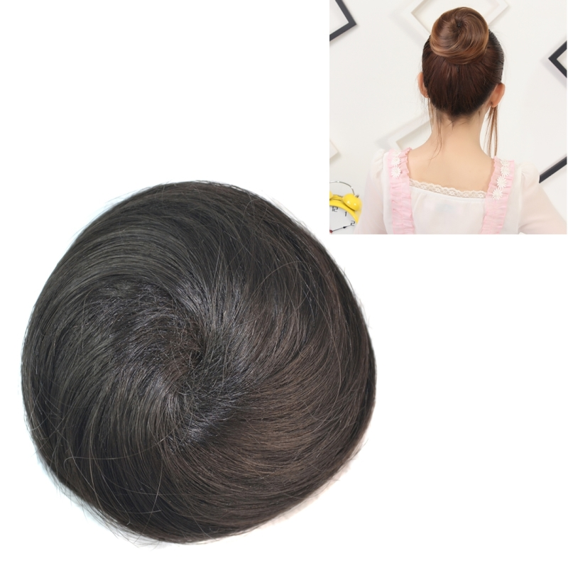 Afbeelding van Pruik Bun bloem vorm haar pakket haar schijf (zwart)