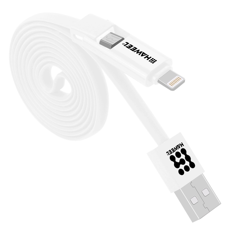 Afbeelding van HAWEEL 2 in 1 Micro USB & 8 Pin to USB Data Sync Charge Cable for iPhone Galaxy Huawei Xiaomi LG HTC and other smart phones Length: 1m(White)