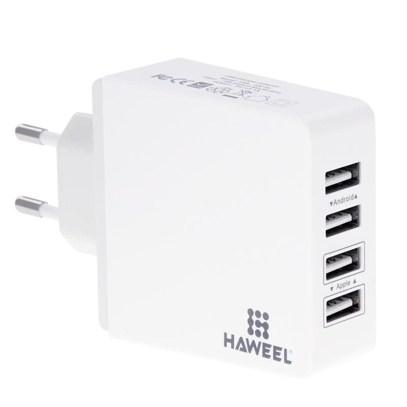 Afbeelding van HAWEEL 4 Poorten USB Maximaal 3.1A reislader voor Android & mobiele telefoons ( wit )