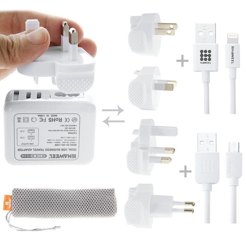 Afbeelding van HAWEEL reislader Kit ontmoet Mesh tas (2.1a Dual USB muur Lader ontmoette 4 voedingsadapters MFI 8 Pin USB Kabel + Micro USB Kabel) voor iPhone 6 & 6 Plus / Samsung / LG