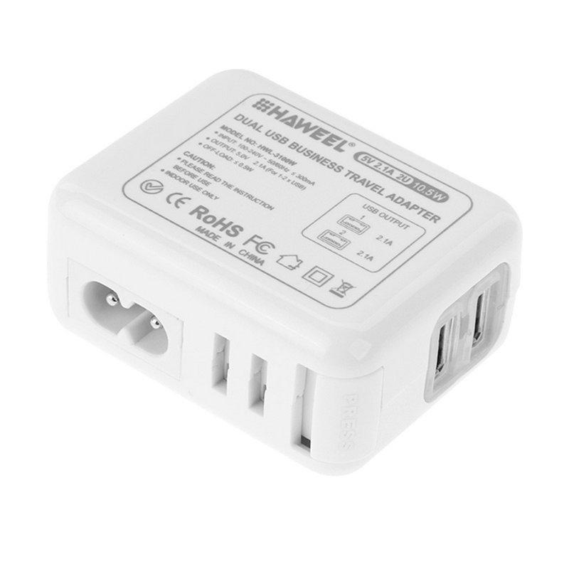 Afbeelding van HAWEEL reislader Kit ontmoet Mesh tas (2.1a Dual USB muur Lader ontmoette 4 voedingsadapters + 8 Pin USB Kabel + Micro USB Kabel) voor iPhone 6 & 6 Plus / Samsung / LG