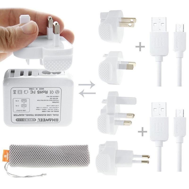 Afbeelding van HAWEEL reislader Kit ontmoet Mesh tas (2.1a Dual USB muur Lader ontmoette 4 voedingsadapters + 2 x Micro USB Kabel) voor Samsung / LG