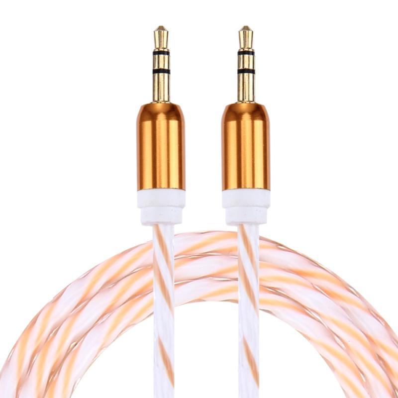 Afbeelding van Dubbele Kleur metaal hoofd 3 5 mm mannetje naar Male Plug Jack Stereo AUX Audio Kabel voor iPhone / iPad / Samsung / MP3 / MP4 / Laptop Kabel Lengte: 90cm(geel)