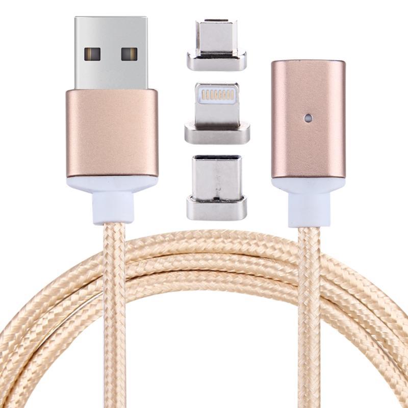 1m 2.4A magnetische kabel geweven stijl 3 in 1 Micro USB-/USB-C / Type-C / 8 Pin op USB 2.0 Sync opladen datakabel  voor iPhone / iPad / Galaxy / Huawei / Xiaomi / LG / HTC / Meizu en andere slimme Phones(Gold)
