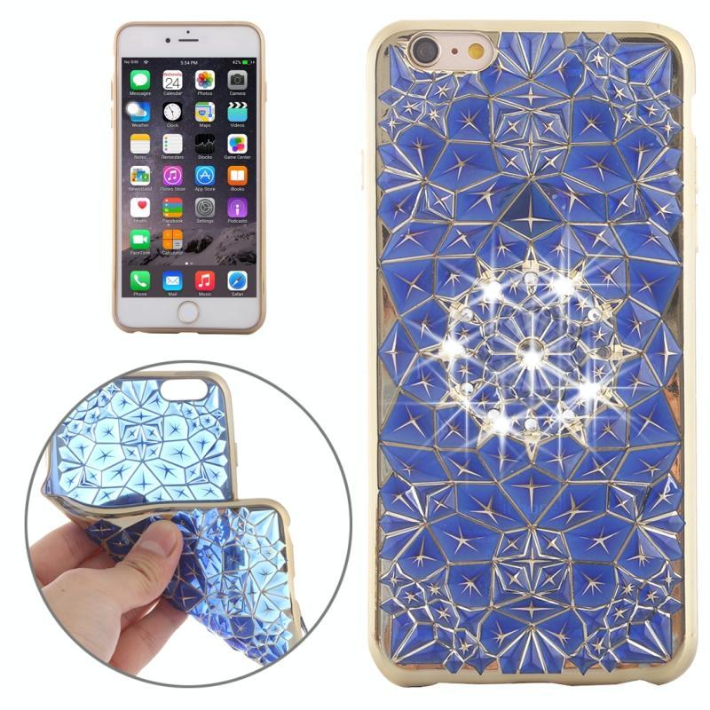 iPhone 6 Plus & 6s Plus Diamanten structuur en met nep diamanten ingelegd gegalvaniseerd TPU back cover Hoesje (goudkleurig frame + donker blauw)