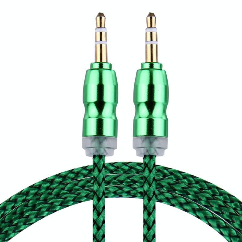 Afbeelding van Geweven stijl metaal hoofd 3 5 mm mannetje naar Male Plug Jack Stereo Audio AUX Kabel voor iPhone iPad Samsung iPod Laptop MP3 Lengte: 1m(groen)
