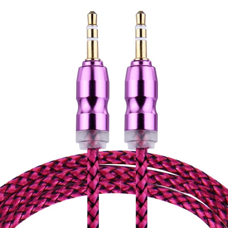 Afbeelding van Geweven stijl metaal hoofd 3 5 mm mannetje naar Male Plug Jack Stereo Audio AUX Kabel voor iPhone iPad Samsung iPod Laptop MP3 Lengte: 1m (hard roze)