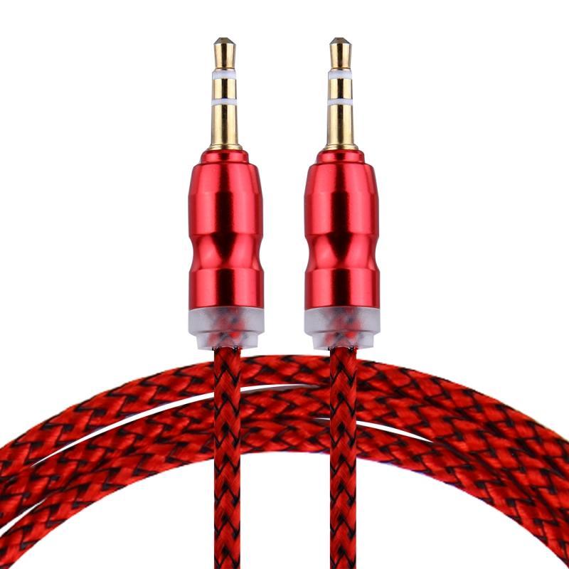 Afbeelding van Geweven stijl metaal hoofd 3 5 mm mannetje naar Male Plug Jack Stereo Audio AUX Kabel voor iPhone iPad Samsung iPod Laptop MP3 Lengte: 1m(rood)