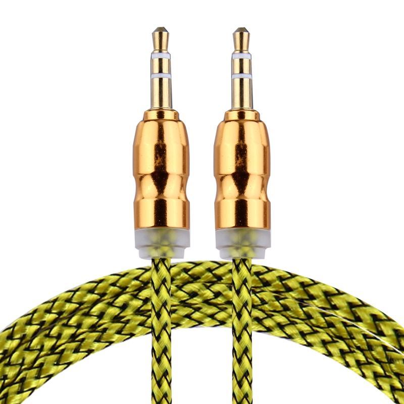 Afbeelding van Geweven stijl metaal hoofd 3 5 mm mannetje naar Male Plug Jack Stereo Audio AUX Kabel voor iPhone iPad Samsung iPod Laptop MP3 Lengte: 1m(geel)