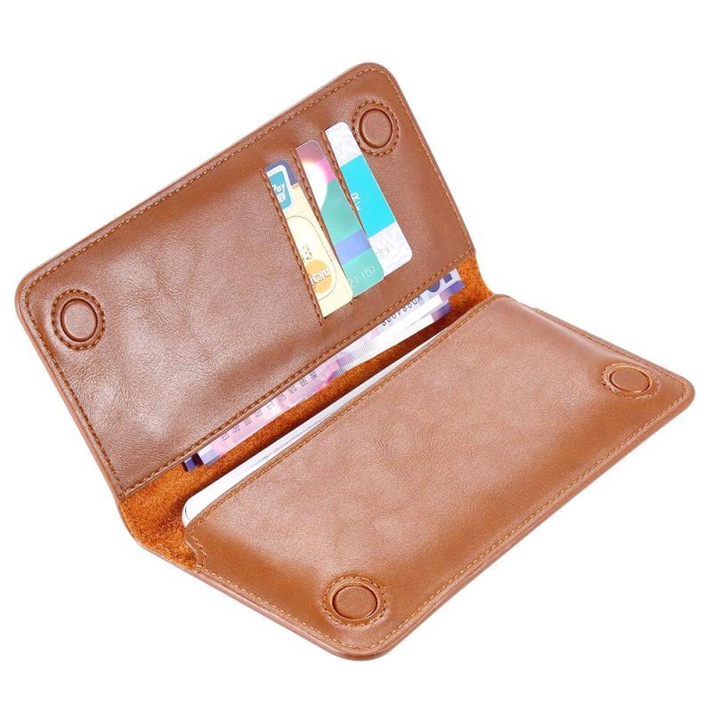 FLOVEME universele magnetische echte lederen horizontale Flip beschermende draagtas met Card Slots & Wallet voor iPhone / Samsung / Huawei / Xiaomi / 5.5 inch onder Smartphones(Brown)
