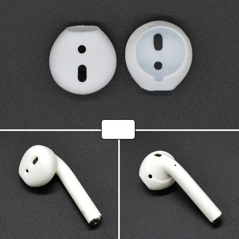 2 PCS Earphone Silicone Ear Caps Earpads for Apple AirPods / EarPods(White)
