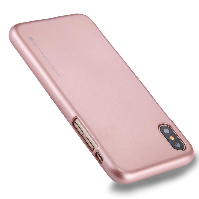 iPhone X glossy en stijlvol GOOSPERY iJELLY beschermend TPU back cover Hoesje (roze goudkleurig)