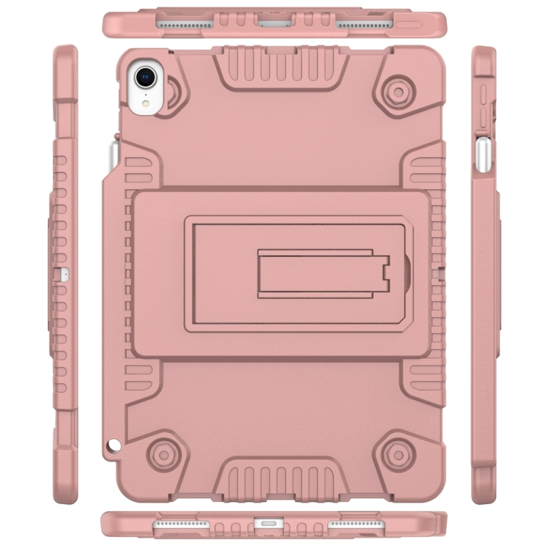 Full Coverage Silicone Shockproof Case for iPad Pro 11 inch (2018)  with Adjustable Holder (Rose Gold)