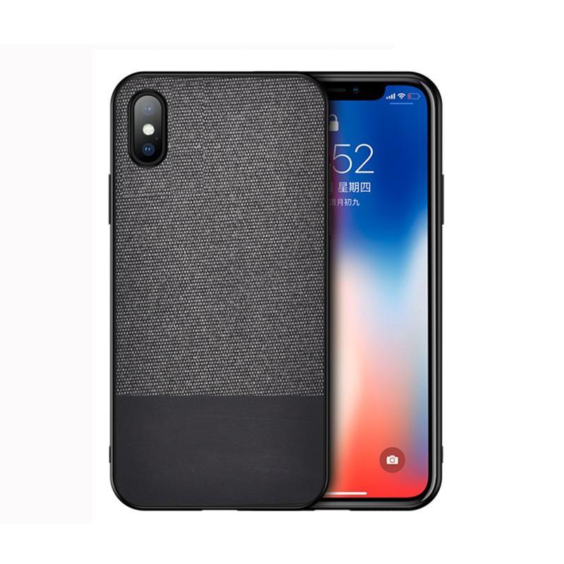 Schokbestendige splicing PU + doek beschermhoes voor iPhone XS Max (zwart)
