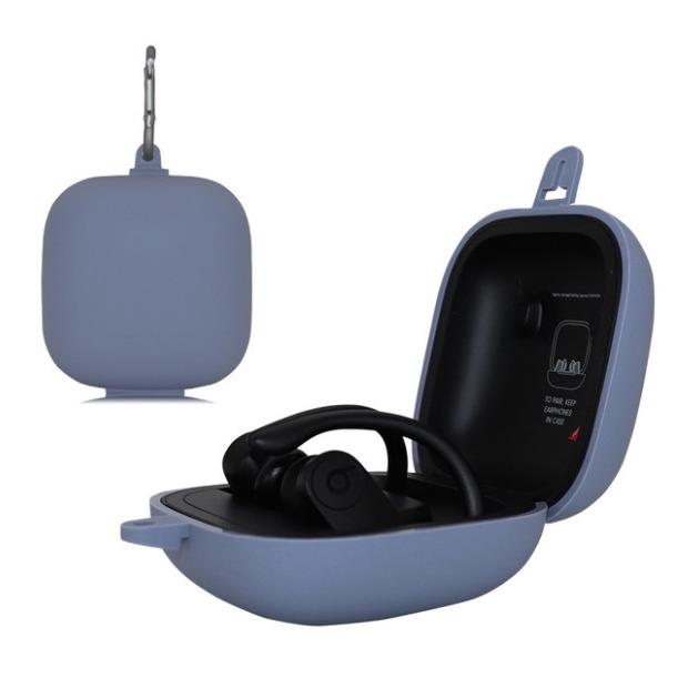 Afbeelding van Effen kleur silicone draadloze Bluetooth oortelefoon beschermende case voor beats Power beats Pro (grijs blauw)