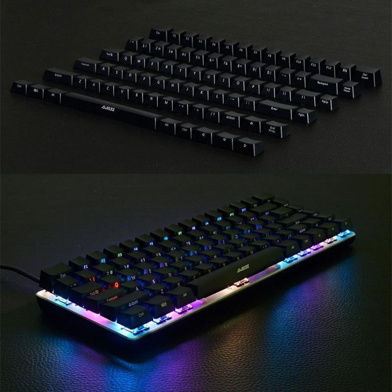 Ajazz AK33 Laptop Computer Mechanical Keyboard Side Engraved Keycap (Black) Let op! Caps!