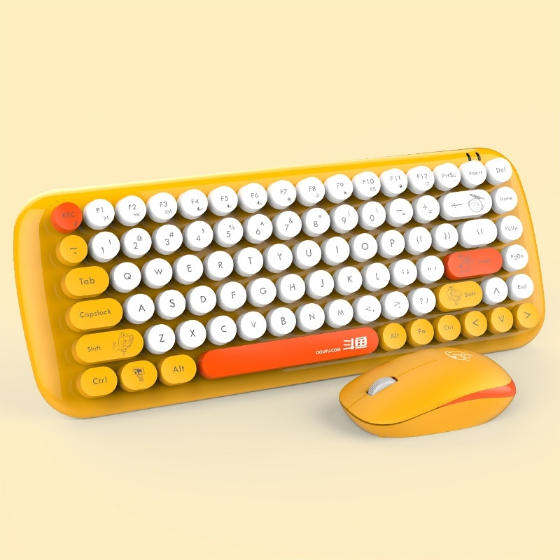 Afbeelding van Ajazz DKS2000 Laptop Computer Household Office Wireless Keyboard Mouse Set (Oranje)