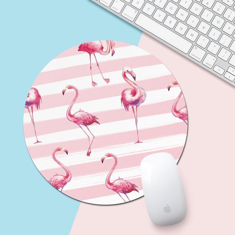 Roze en witte Flamingo patroon circulaire muismat  diameter: 22cm