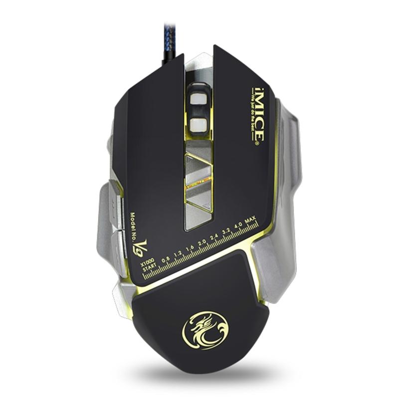 Afbeelding van iMICE V9 USB 7 knoppen 4000 DPI Wired optische kleurrijke Backlight Gaming muis voor Computer PC Laptop (zwart)