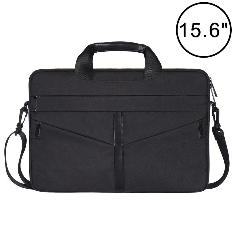 Afbeelding van 15 6 inch ademend slijtvaste Fashion Business schouder Handheld rits laptoptas met schouderband (zwart)