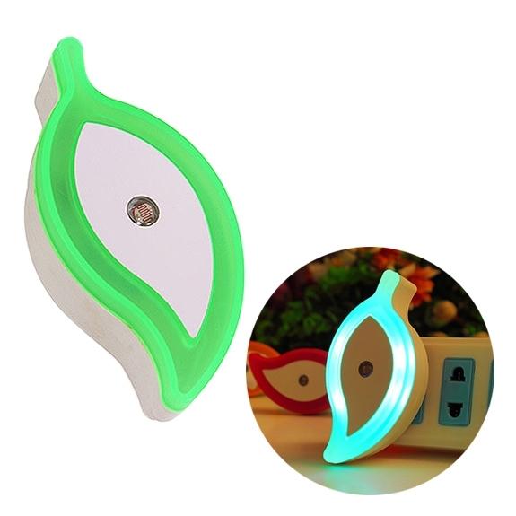 0.8W Creative Energy-saving Leaf Shape Halo Light Control Sensor LED Night Lights Wall Lamps  AC 110-240V  US/EU Plug(Green)