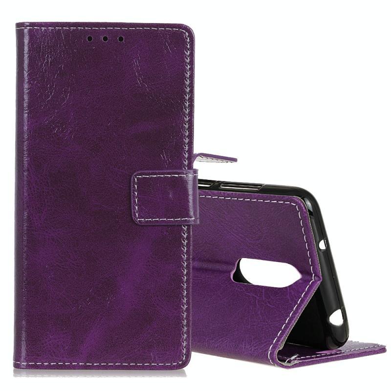 Retro Crazy Horse textuur horizontale Flip lederen case voor LG K40  met houder & kaartsleuven & fotolijstjes (paars)