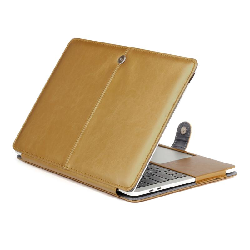 MacBook Pro 15.4 inch A1707 Crazy Horse structuur beschermende PU leren Flip Hoes (goudkleurig)