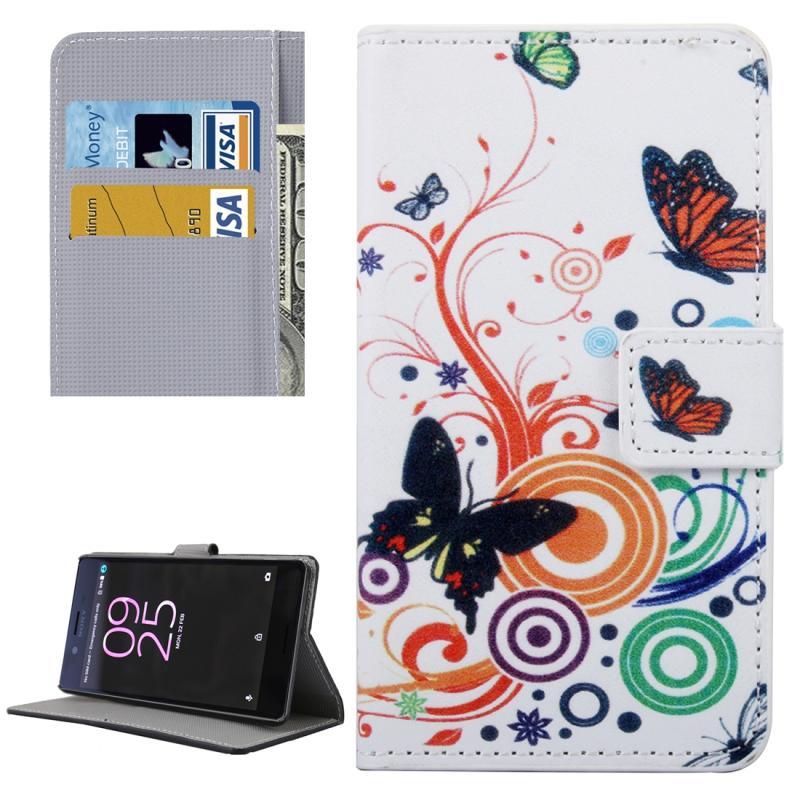 Afbeelding van Voor Sony Xperia X Performance (wit) vlinder patroon lederen hoesje met houder & opbergruimte voor pinpassen & portemonnee