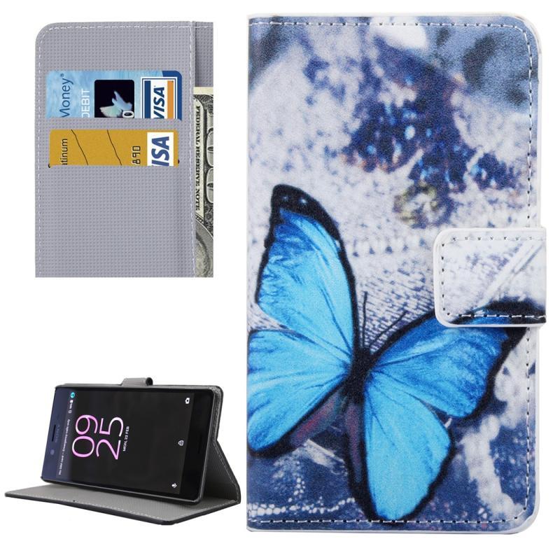 Afbeelding van Voor Sony Xperia X Performance blauw vlinder patroon lederen hoesje met houder & opbergruimte voor pinpassen & portemonnee