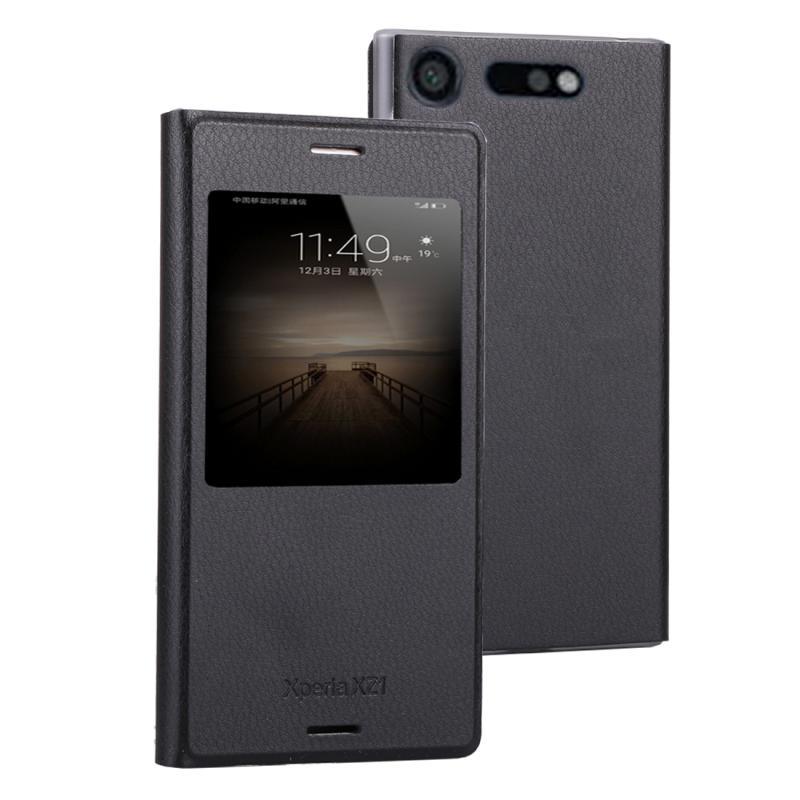 Voor Sony Xperia XZ1 Litchi textuur horizontale Flip lederen draagtas met oproep Display ID(Black)