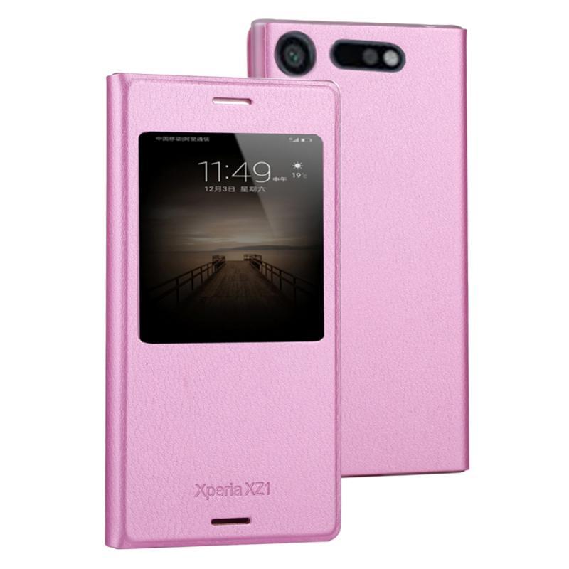 Voor Sony Xperia XZ1 Litchi textuur horizontale Flip lederen draagtas met oproep Display ID(Pink)