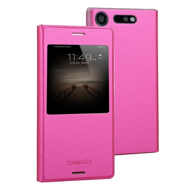 Voor Sony Xperia XZ1 Litchi textuur horizontale Flip lederen draagtas met oproep Display ID(Magenta)
