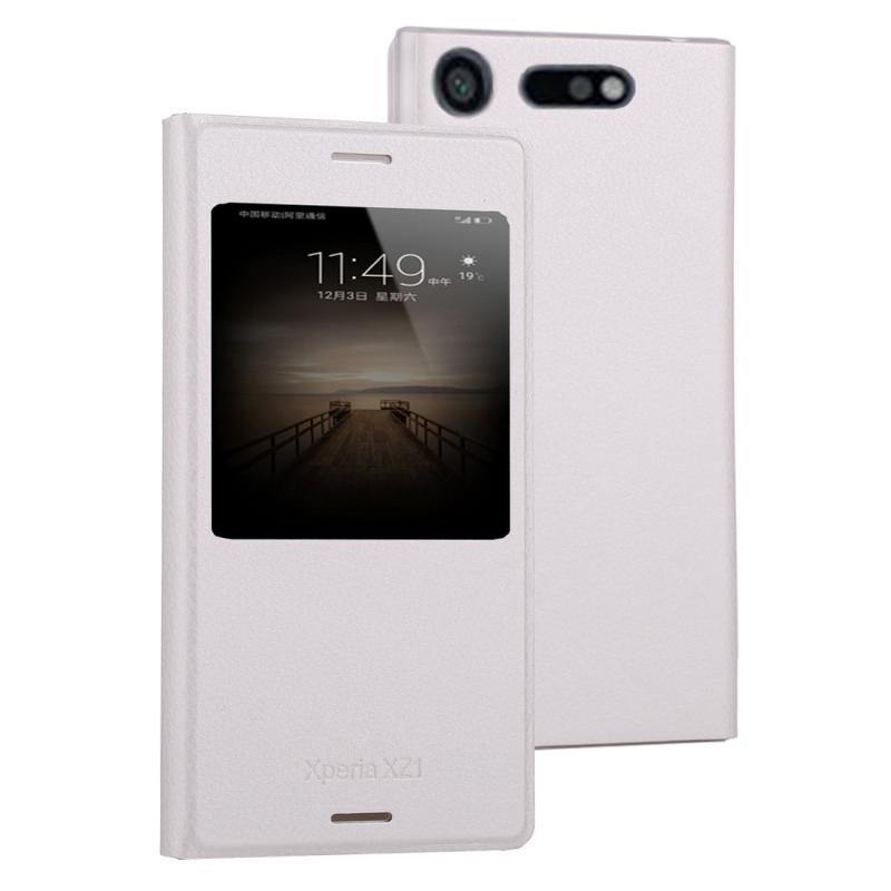 Voor Sony Xperia XZ1 Litchi textuur horizontale Flip lederen draagtas met oproep Display ID(White)