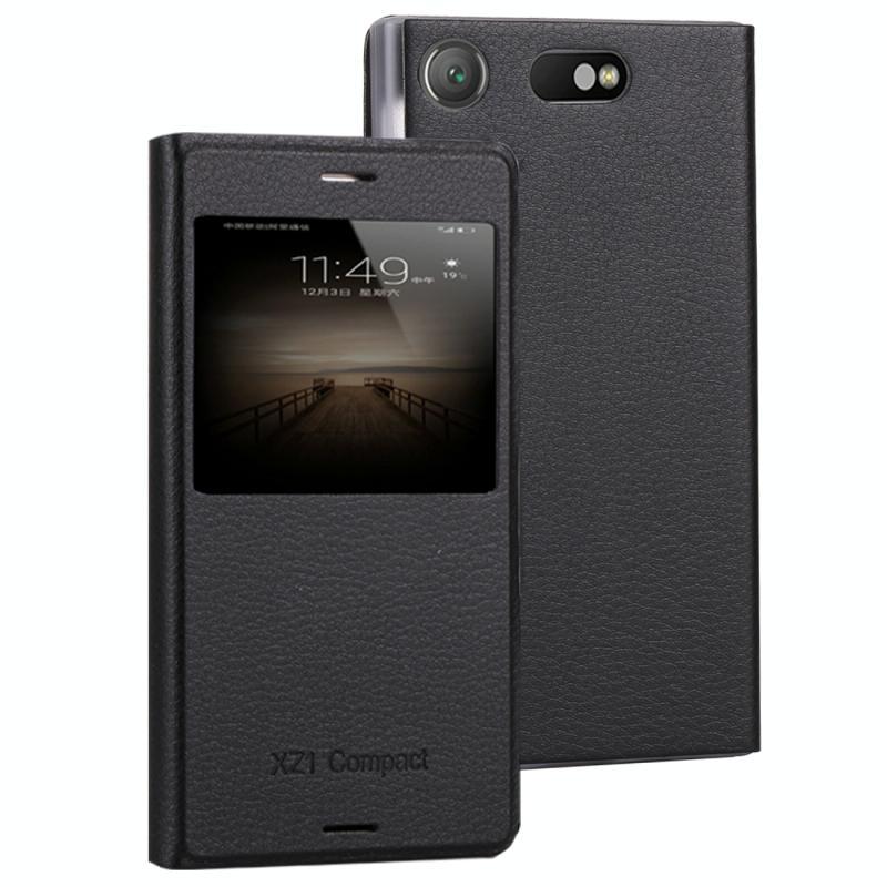 Voor Sony Xperia XZ1 compacte Litchi textuur horizontale Flip lederen draagtas met oproep weergeven ID(Black)