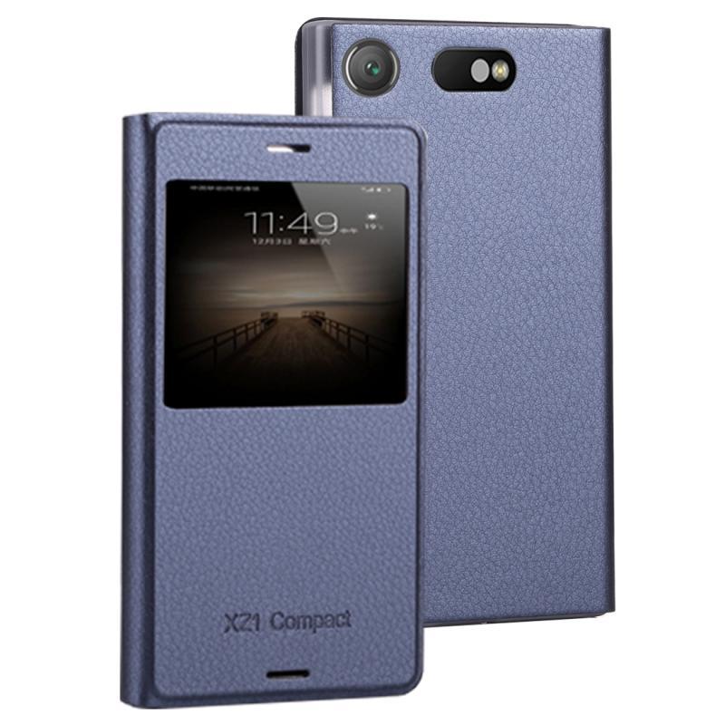 Voor Sony Xperia XZ1 compacte Litchi textuur horizontale Flip lederen draagtas met Bel Display ID (donkerblauw)