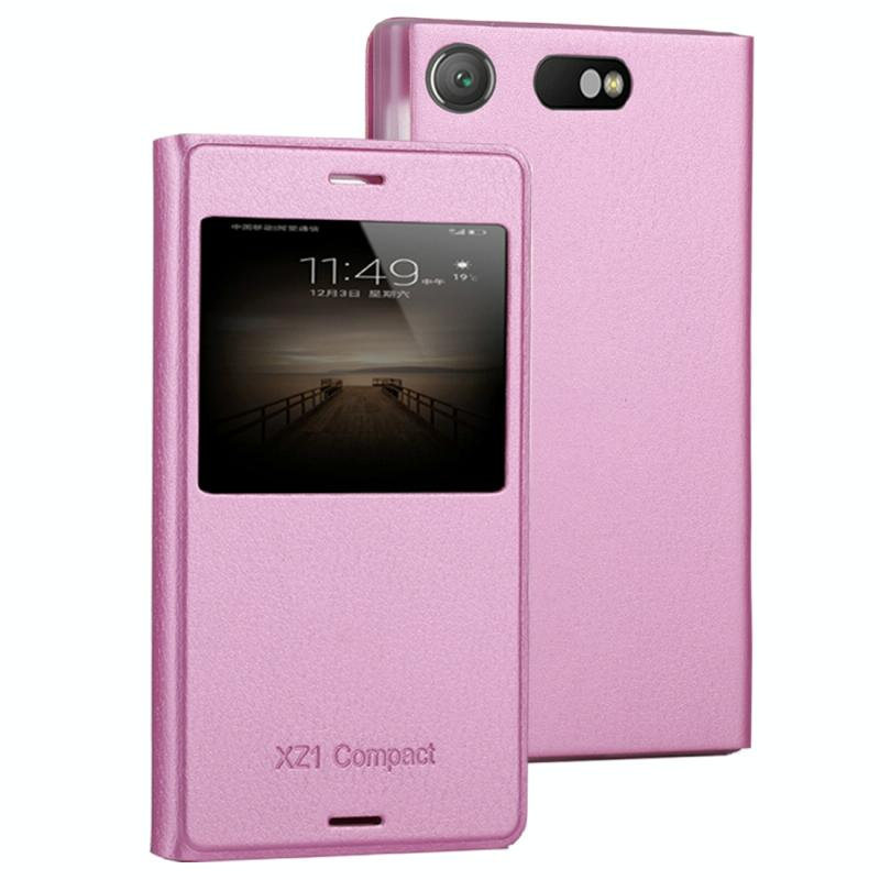 Voor Sony Xperia XZ1 compacte Litchi textuur horizontale Flip lederen draagtas met Bel Display ID (roze)