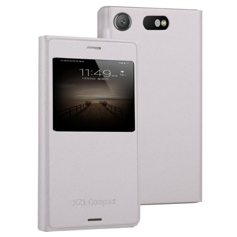 Voor Sony Xperia XZ1 compacte Litchi textuur horizontale Flip lederen draagtas met Bel Display ID (wit)